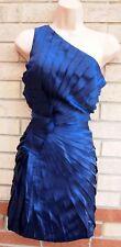 ASOS NAVY BLUE SATIN FRILL RUFFLE ONE SHOULDER BODYCON PARTY EVENING DRESS 12 M