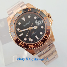 40mm PARNIS black dial Sapphire glass rose gold case GMT automatic watch 2704