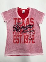 MLB Team Apparel Texas Rangers Red Heather V Neck Girls Sample Size 10/12 Nice