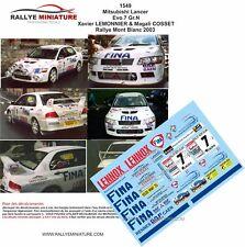 DECALS 1/18 REF 1549 MITSUBISHI LANCER LEMONNIER RALLYE MONT BLANC 2003 RALLY