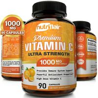 NutriFlair Pure Vitamin C 1000mg - 90 Capsules Immune Support High Dose Pills