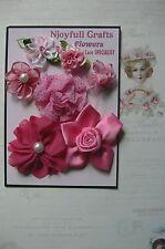 HANDMADE 7 Flower Mix DARK PINK Organza Satin 25-60mm NjoyfullCrafts Pinks6