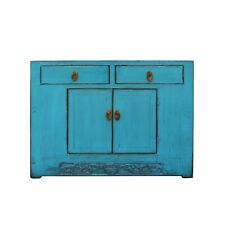Distressed Rustic Bright Turquoise Blue Foyer Console Table Cabinet cs5007