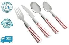 New 16pc Red Stripe Stainless Steel Flatware Set Silverware Fork Spoon Knife