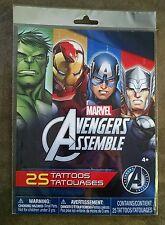 Marvel Avengers Assemble 25 Tattoos 4+ Birthday Favor America Hulk Ironman Thor