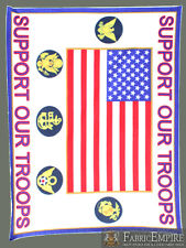 Polar Fleece Fabric Print SUPPORT OUR TROOPS LICENSED Sold By The Yard N-2105-OT