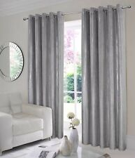 """Thermal Velvet Curtains Lined Eyelet Ring Top  """"Glimmer"""" Black Grey Silver"""