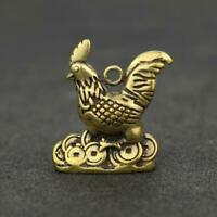 Chinese Brass Rooster Pendant Small Statue China Zodiac Lucky Pocket Xmas Gifts