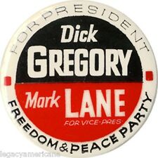 1968 Dick Gregory FREEDOM & PEACE PARTY Mark Lane Button (1392)