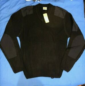 NATO Army security bouncer Cadet mens jumper sweater pullover  Black size large