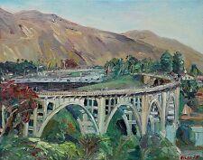 Pasadena Colorado Street bridge California Plein air Impressionism Oil