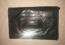 Balenciaga D Ring Clutch Flap Black Leather Bag Purse  EUC