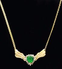 EMERALD 1.19 carats & DIAMONDS NECKLACE 10k Solid Yellow Gold  *FREE SHIPPING*