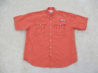 Columbia Button Up Shirt Adult Large Orange PFG Fishing Camp Outdoors Mens