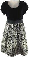 Sequin Hearts Youth Girls Black Velvet Bodice Floral Skirt Dress Size 10