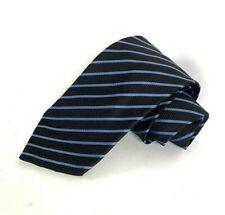 Balengiaca Pour Homme Paris 100% Silk Tie Brown Blue Diagonal Stripes
