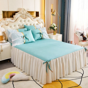 Cotton Fabric Princess Lace Bedspread King Queen Size  1pc Bed Skirt+2pcs cases