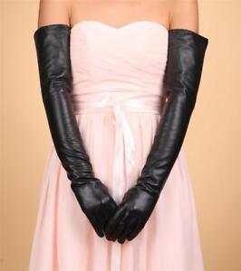 Women 60cm Genuine Sheep Leather Long Opera Elbow Gloves Black Silk Lining