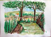 Acquerello '900 su carta Watercolor -Paesaggio di Campagna alberi- (133)