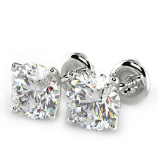 1.02 Ct Round Cut VS2/E Diamond Stud Earrings 14K White Gold