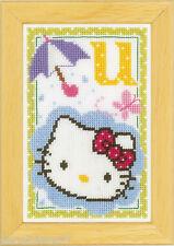 Vervaco  0149583  Kit  Point de Croix  Compté  Alphabet © Hello Kitty - Lettre U
