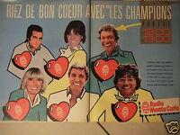 PUBLICITÉ 1983 RADIO MONTE CARLO RIEZ DE BON COEUR AVEC LES CHAMPIONS