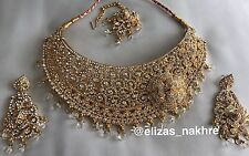 Bollywood Style White rhinestone and Gold necklace set