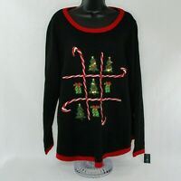 Karen Scott Womens Plus Size 0X Holiday Sweater Whimsical Christmas Tic-Tac-Toe