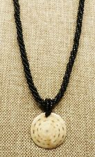 Braided Glass Seed Bead Chain A26) Round Fossil Pendant on