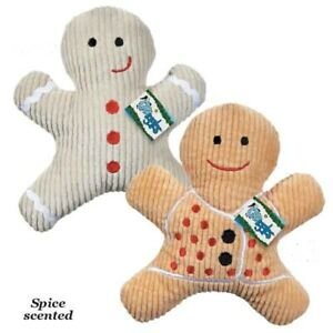 SCENTED GINGERBREAD MAN - Holiday Spice Scented Squeaker Plush Gift Dog Toy