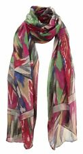 Sca90132 abstract print pink/green scarf