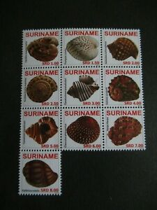 2010 WILDLIFE SHELL SHEET VF MNH SURINAME B14.28 $0.99