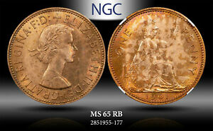 1961 GREAT BRITAIN 1 PENNY NGC MS 65 RB ***TONED***