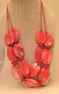 Fashion Necklace Mother Of Pearl Peach Shell Statement Bib Island Boho