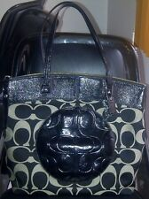 AUTHENTIC COACH LAURA SIGNATURE LARGE BAG TOTE PURSE F18335 BLACK