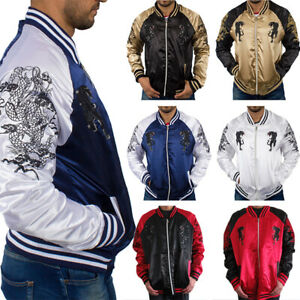 New Rocawear Men Sukajan Embroidered Dragon Satin Bomber Jacket Fashion Urban