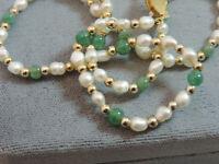 "White Biwa Pearl Jade Green stone gold tone bead strand 16"" Neckace Cd 29"