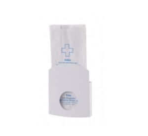 Hygienebeutelhalter Edelstahl weiß Wandhalterung für Papier + Poly-Hygienebeutel
