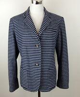 GAP Womens 20 Blue & Gray Striped Blazer Stretch Jacket Boyfriend Career Weekend