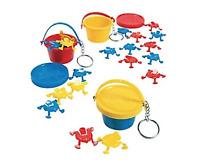 Basic Fun Mini Game Jumping Frogs Keychain Toy Key Ring Vintage Children's Kids