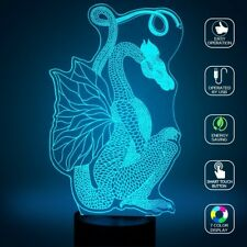 3D Illusion Led Night Light Lamp Color Changing Colorful Home Bedroom Dragon UK