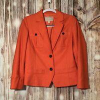 Banana Republic Womens Orange Linen And Cotton Blazer Size 6