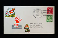US Santa Claus 1934 Christmas Cachet Cover w/ 2 Cancelled Stamps