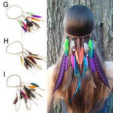 Fashion Bohemian Festival Feather Headband Hippie Headdress Hair Accessories.kn