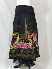 Basil & Maude ANTHROPOLOGIE Black Sequin Full Tulle Floral Eiffel Tower Skirt 4
