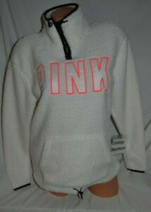 Victoria's Secret PINK White Logo Sherpa Quarter Zip Pullover Sweatshirt XS NEW
