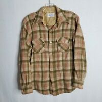Vintage Woolshire Mens Plaid Button Front L/S Wool Nylon Shirt Size Small T315