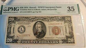 1934 $20 HAWAII WW2 NOTE PCGS CERT@VF35 FR#2304M