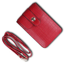 Red Mini Cross-body Shoulder Bag Cell Phone Pouch For iPhone 6s Plus /  HTC 10