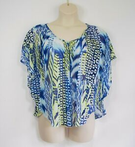 uy SUZANNE GRAE sheer mesh butterfly blouse S 10 12 FREE POST
